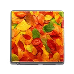 Colorful Fall Leaves Memory Card Reader (square)