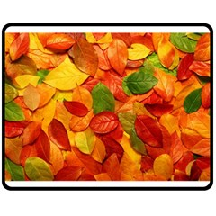 Colorful Fall Leaves Double Sided Fleece Blanket (medium)  by AnjaniArt