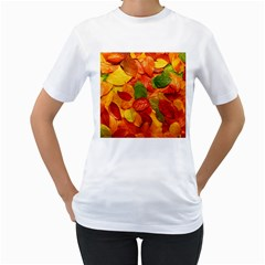 Colorful Fall Leaves Women s T Shirt (white)  by AnjaniArt
