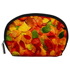 Colorful Fall Leaves Accessory Pouches (large)  by AnjaniArt