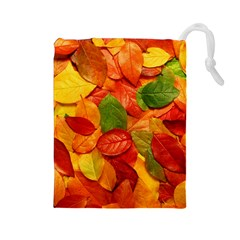 Colorful Fall Leaves Drawstring Pouches (large)