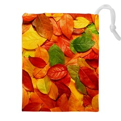 Colorful Fall Leaves Drawstring Pouches (xxl) by AnjaniArt