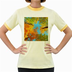 Colorful Leaves Sky Women s Fitted Ringer T Shirts by AnjaniArt