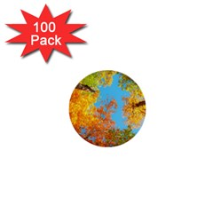 Colorful Leaves Sky 1  Mini Buttons (100 Pack)