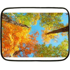 Colorful Leaves Sky Double Sided Fleece Blanket (mini)