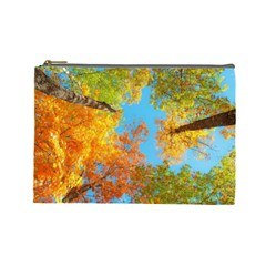 Colorful Leaves Sky Cosmetic Bag (large)  by AnjaniArt