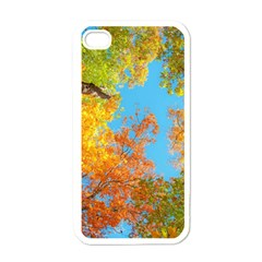 Colorful Leaves Sky Apple Iphone 4 Case (white) by AnjaniArt