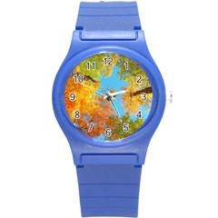 Colorful Leaves Sky Round Plastic Sport Watch (s)