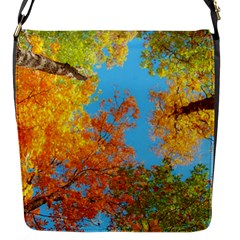 Colorful Leaves Sky Flap Messenger Bag (s) by AnjaniArt