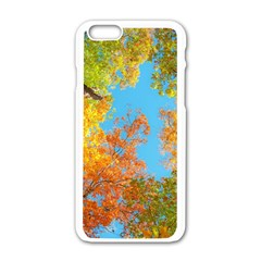 Colorful Leaves Sky Apple Iphone 6/6s White Enamel Case by AnjaniArt