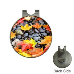 Colorful Leaves Stones Hat Clips With Golf Markers by AnjaniArt