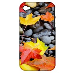 Colorful Leaves Stones Apple Iphone 4/4s Hardshell Case (pc+silicone) by AnjaniArt