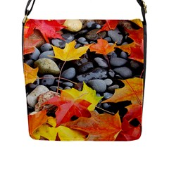 Colorful Leaves Stones Flap Messenger Bag (l)  by AnjaniArt