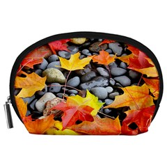 Colorful Leaves Stones Accessory Pouches (large)  by AnjaniArt