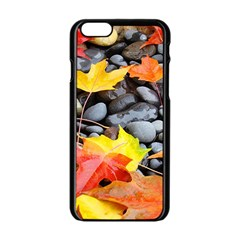 Colorful Leaves Stones Apple Iphone 6/6s Black Enamel Case