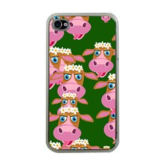 Cow Pattern Apple Iphone 4 Case (clear) by AnjaniArt