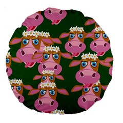 Cow Pattern Large 18  Premium Round Cushions
