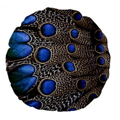 Feathers Peacock Light Large 18  Premium Round Cushions