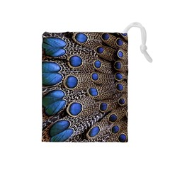 Feathers Peacock Light Drawstring Pouches (medium)