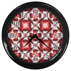 Floral Optical Illusion Wall Clocks (black) by AnjaniArt
