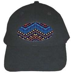 Cute Hand Drawn Ethnic Pattern Black Cap by AnjaniArt