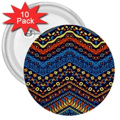 Cute Hand Drawn Ethnic Pattern 3  Buttons (10 Pack)