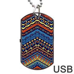 Cute Hand Drawn Ethnic Pattern Dog Tag Usb Flash (two Sides)  by AnjaniArt