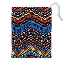 Cute Hand Drawn Ethnic Pattern Drawstring Pouches (xxl) by AnjaniArt
