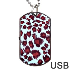 Jaguar Textile Background Dog Tag Usb Flash (one Side) by AnjaniArt