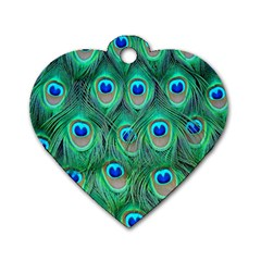 Peacock Feather Dog Tag Heart (one Side)