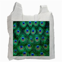 Peacock Feather Recycle Bag (one Side) by AnjaniArt