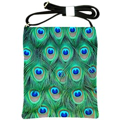Peacock Feather Shoulder Sling Bags by AnjaniArt