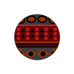Red Aztec Rubber Round Coaster (4 Pack)