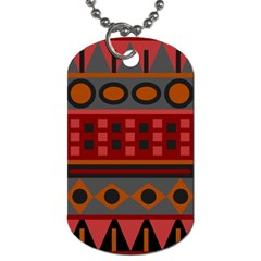 Red Aztec Dog Tag (two Sides) by AnjaniArt