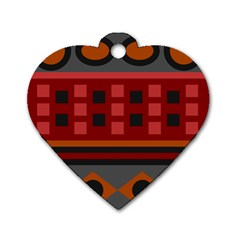 Red Aztec Dog Tag Heart (one Side)
