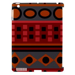 Red Aztec Apple Ipad 3/4 Hardshell Case (compatible With Smart Cover)