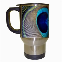 Single Peacock Travel Mugs (white)
