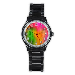 Texture Background Stainless Steel Round Watch