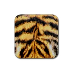 Tiger Fur Painting Rubber Coaster (square)  by AnjaniArt