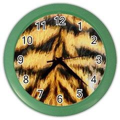 Tiger Fur Painting Color Wall Clocks by AnjaniArt