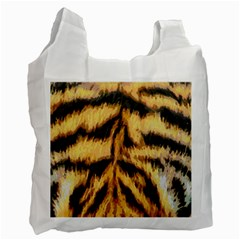 Tiger Fur Painting Recycle Bag (one Side) by AnjaniArt
