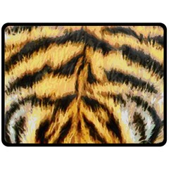 Tiger Fur Painting Fleece Blanket (large)  by AnjaniArt