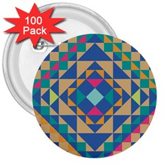 Tiling Pattern 3  Buttons (100 Pack)