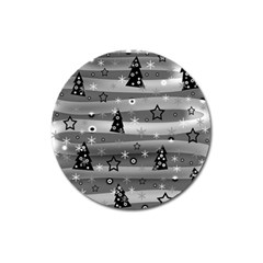 Gray Xmas Magic Magnet 3  (round) by Valentinaart