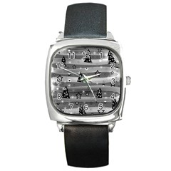 Gray Xmas Magic Square Metal Watch by Valentinaart