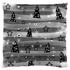 Gray Xmas Magic Large Flano Cushion Case (one Side) by Valentinaart