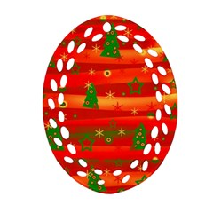 Xmas Magic Oval Filigree Ornament (2 Side)  by Valentinaart