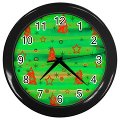Green Xmas Magic Wall Clocks (black) by Valentinaart