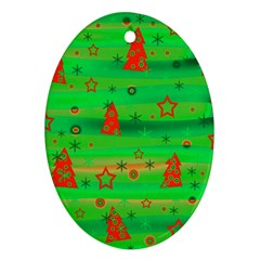 Green Xmas Magic Oval Ornament (two Sides) by Valentinaart