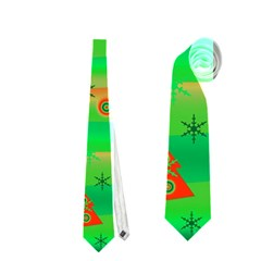 Green Xmas Magic Neckties (one Side)  by Valentinaart